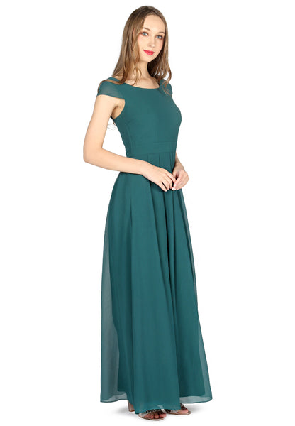 Teal Chiffon Maxi Dress - London Rag India
