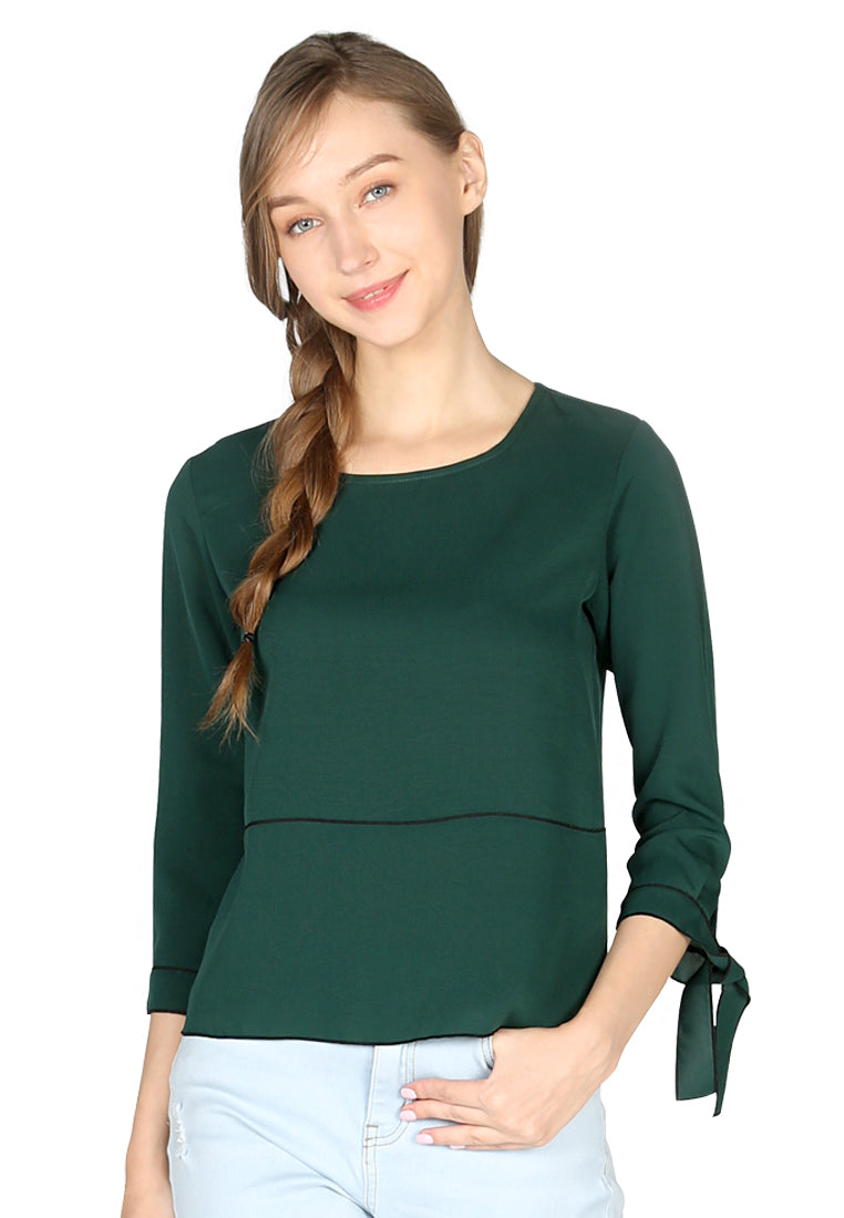 Womens Green Elbow Sleeve Casual Top - London Rag India