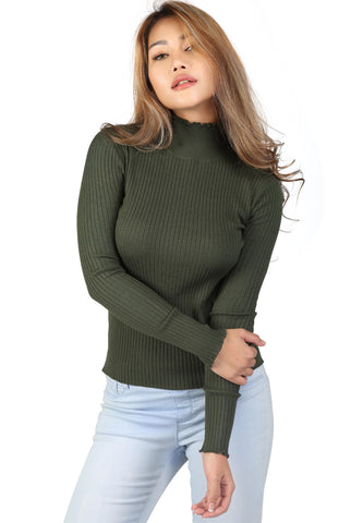 Green Turtleneck Striped Sweater - London Rag India