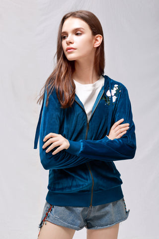 Velour Classic Hoodie Sweat Jacket with Pockets - London Rag India