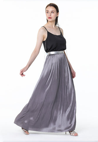 Grey Pleated Maxi Skirt