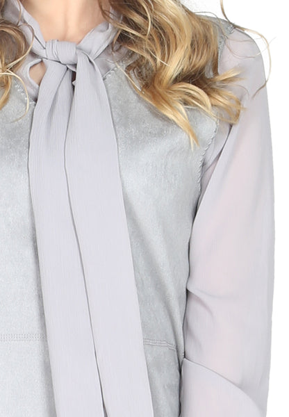 Grey Self Neck Tie Shift Dress