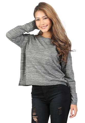 Grey Crew Neck Knit Sweater - London Rag India