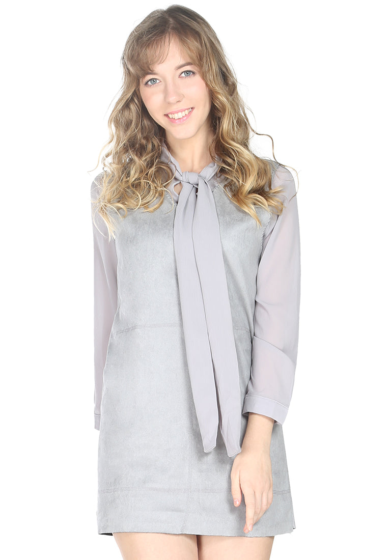 Grey Self Neck Tie Shift Dress - London Rag India