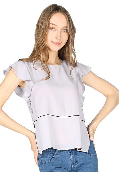 Womens Grey Short Flutter Sleeve Casual Top - London Rag India