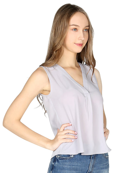 Grey Sleeveless V Neck Casual Top - London Rag India