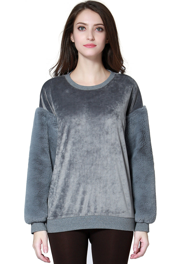 Grey Long Sleeve Knit Sweater - London Rag India