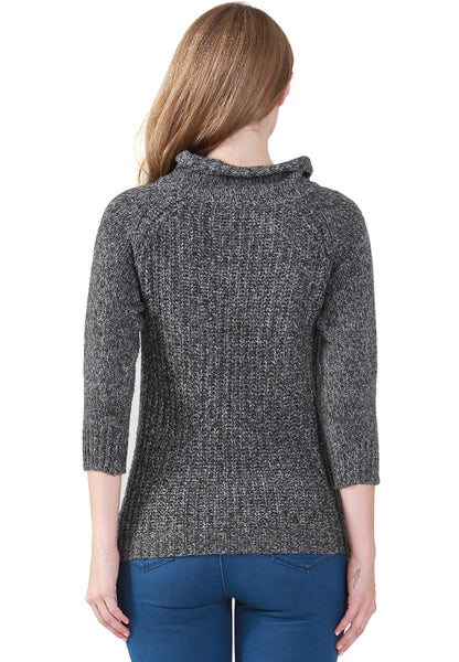 Silver Metallic Print Wide Turtle Neck Knit Sweater - London Rag India
