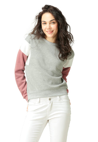 Color Block Heather Grey Sweatshirt