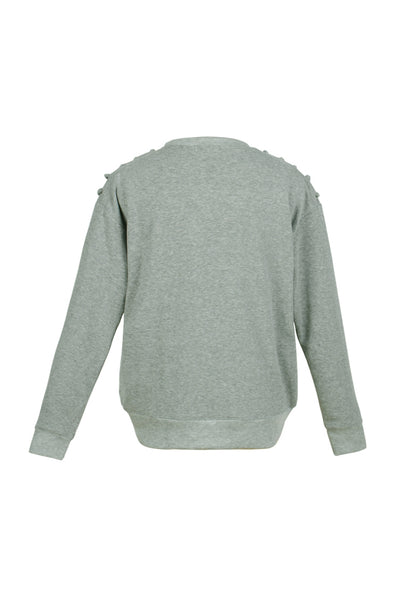 Heather Grey Sweatshirt with shoulder lace loop