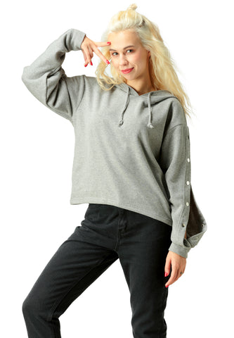 Grey Button Detailed Sleeve Hoodie - London Rag India