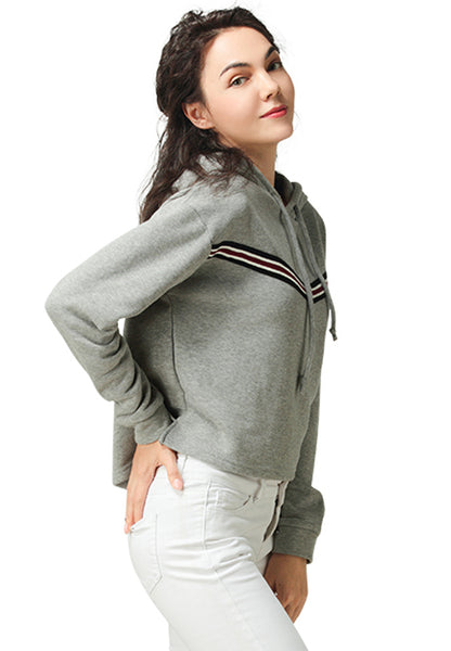 Grey Hoodie with Drawstring - London Rag India