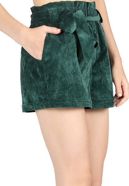 Green High Waist Shorts with Belt - London Rag India