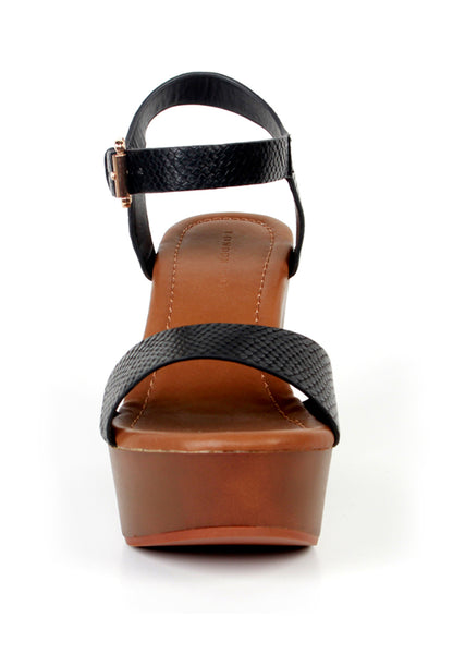 Womens Black Strap Heels - London Rag India