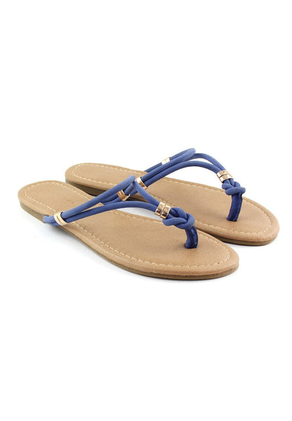 Blue Thong Flat Flip Ons - London Rag India
