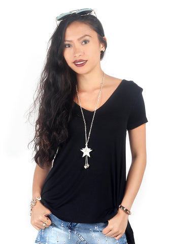 Womens Black V Neck Rib Asymmetrical Top - London Rag India