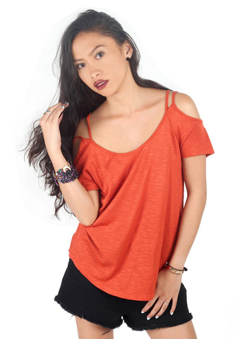 Womens Red Off-Shoulder Solid Top - London Rag India