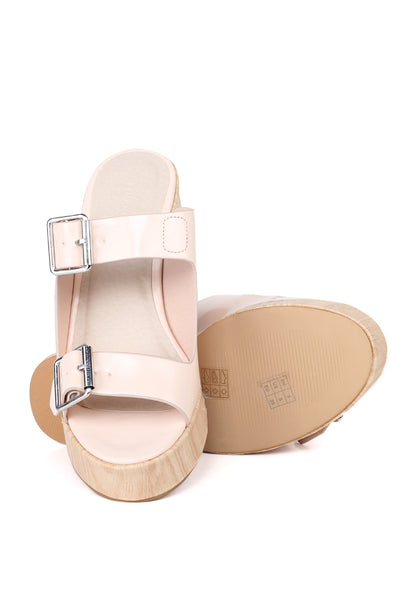 Womens Pink Nude Strap Wedge Sandals - London Rag India