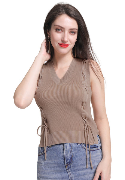 Laced Knitted Vest Top - London Rag India