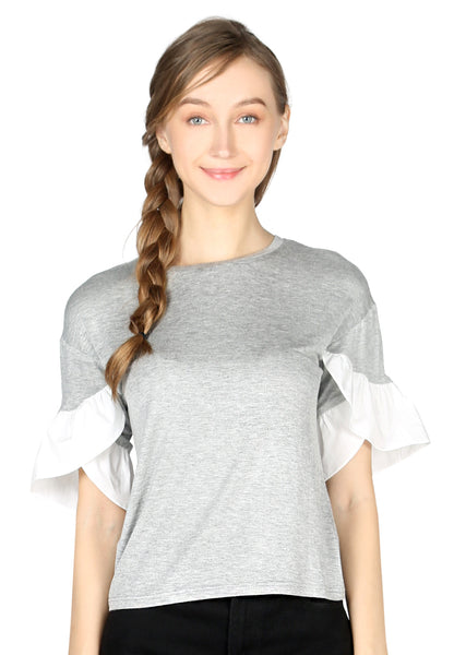 Grey Petal Sleeve Casual Top - London Rag India