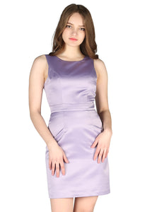 Light Purple Satin Bodycon Mini Dress - London Rag India