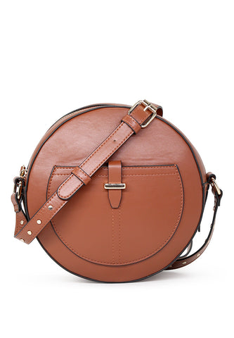 Womens Round Brown Sling Bag - London Rag India