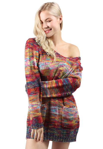Multi Color Textured Sweater