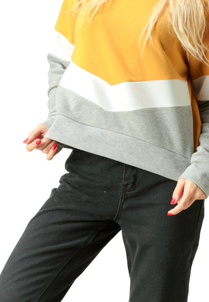 Colour Block Sweatshirt in Mustard - London Rag India