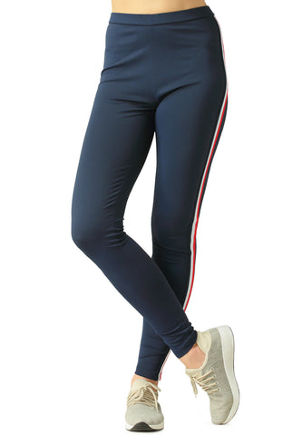 Navy Blue Striped Tape Side Leggings