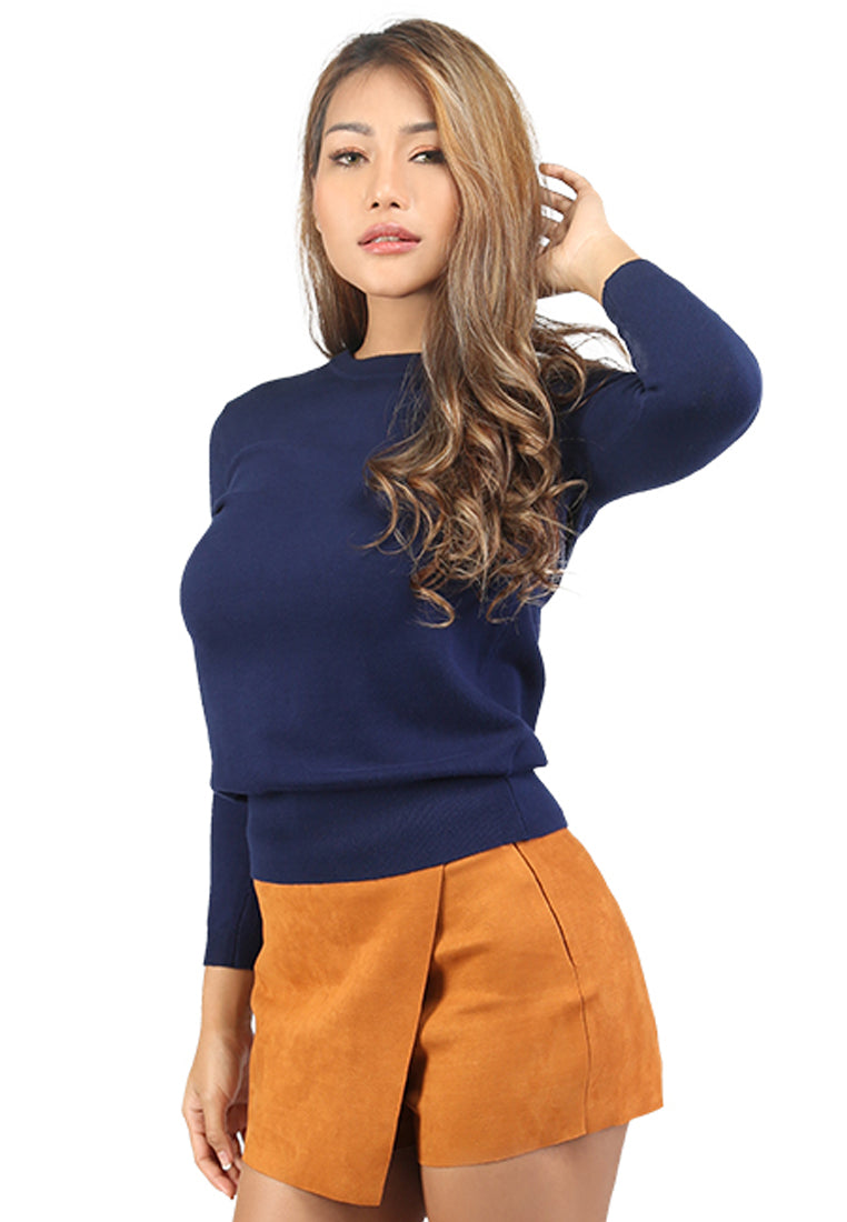Navy Blue Fine Knit Striped Sweater - London Rag India