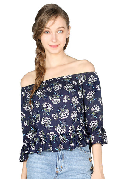 Navy Floral Print Off Shoulder Top - London Rag India