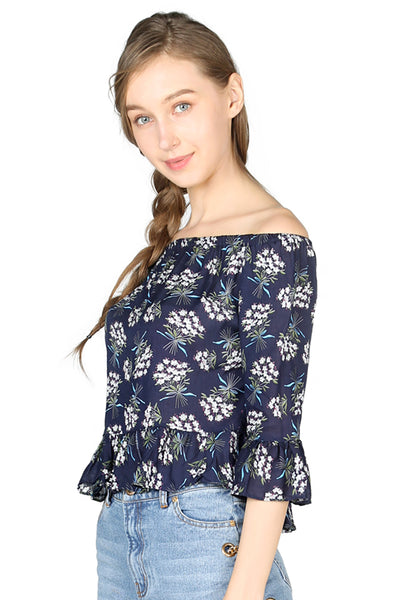 Womens Navy Floral Print Off Shoulder Top - London Rag India
