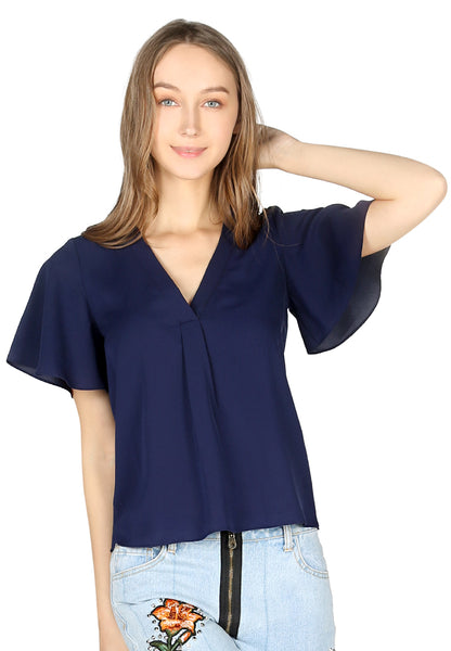 Navy Short Bell Sleeve V Neck Casual Top - London Rag India