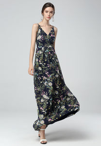 Navy Floral Print Spaghetti Chiffon Maxi Dress - London Rag India