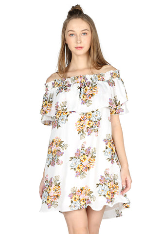 White Off Shoulder Floral Mini Dress - London Rag India