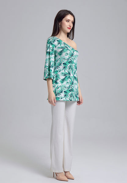 Botanical Green Printed Off-Shoulder Tunic Top - London Rag India