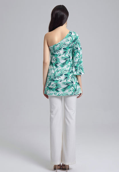 Botanical Green Printed Off-Shoulder Tunic Top