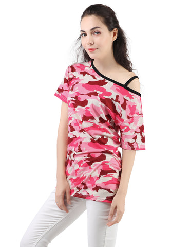 Red and Pink Camouflage One Strap Off-shoulder Top - London Rag India