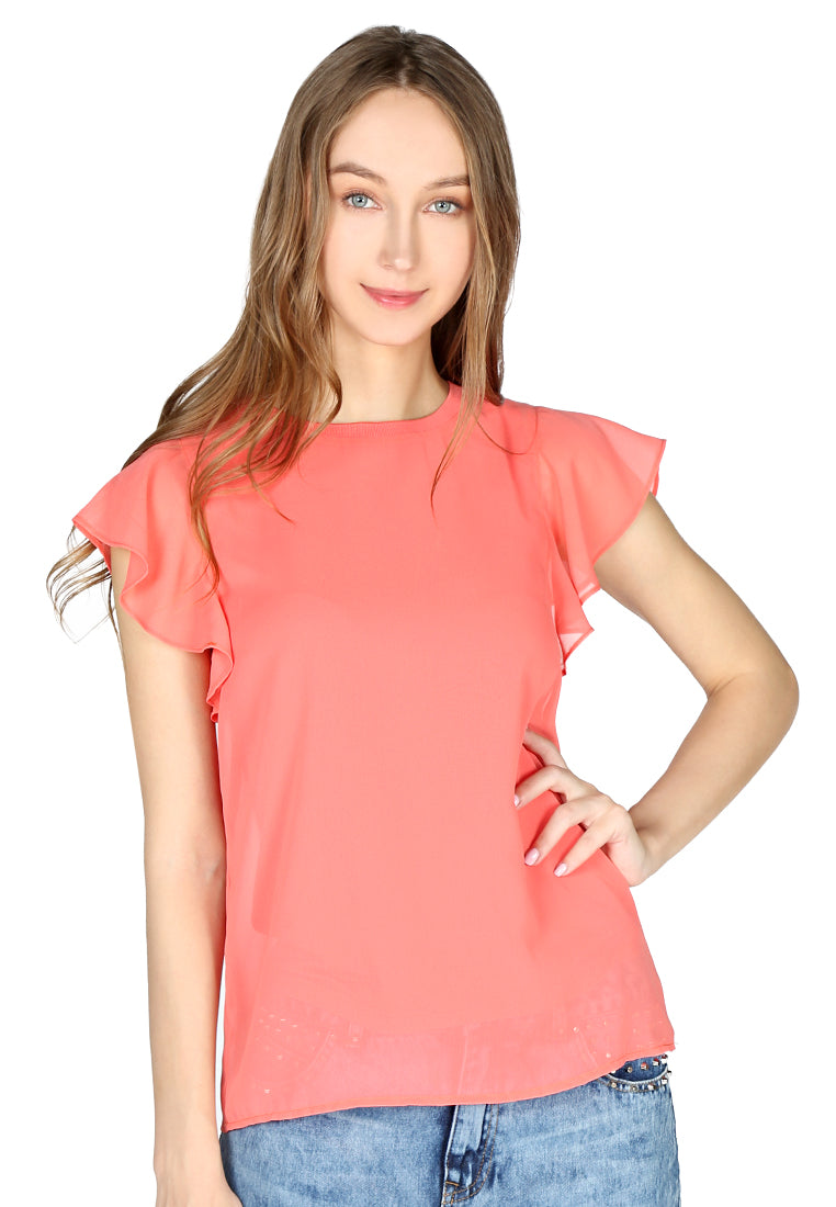Womens Peach Short Flutter Sleeve Casual Top - London Rag India
