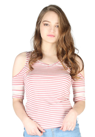 Womens Mariah Stripe Red Cold Shoulder Top - London Rag India