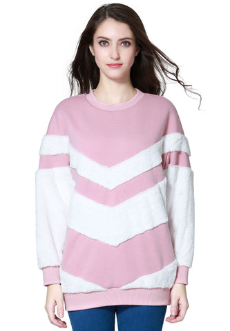 Baby Pink Full Sleeve Turtle Neck Fur Detail Sweater - London Rag India