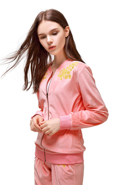 Pink Velvet Embroidery Jacket - London Rag India