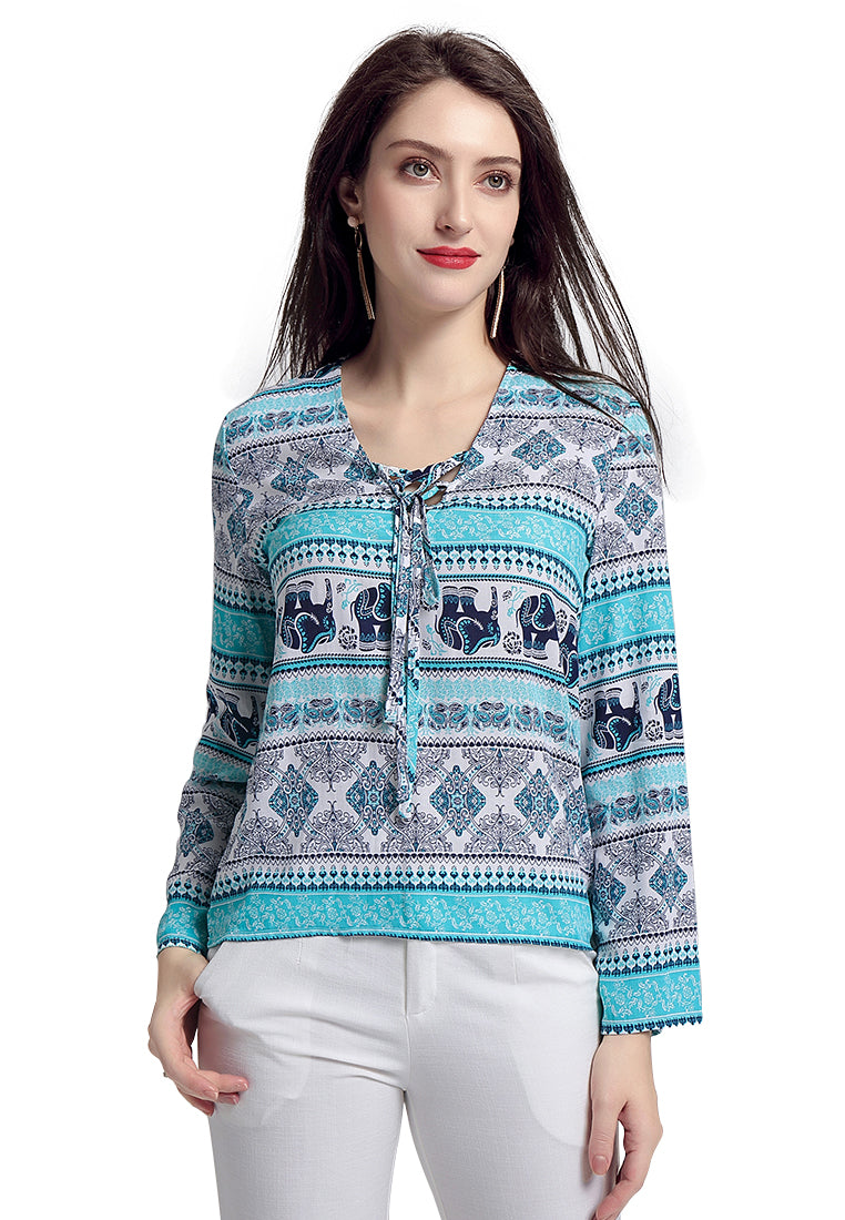 Blue Printed Long Sleeve Top - London Rag India