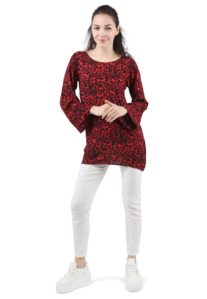 Casual Full Sleeve Printed Red Top