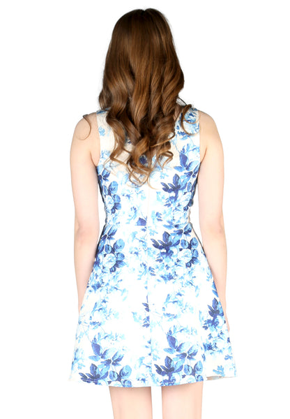 Blue Floral Print Mini Dress - London Rag India