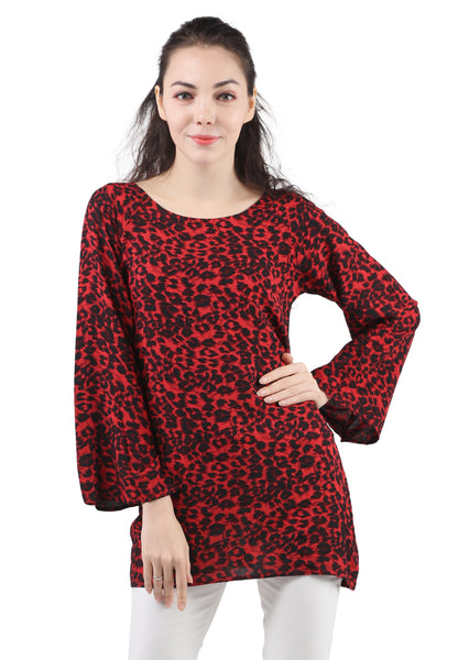 Casual Full Sleeve Printed Women Red Top - London Rag India