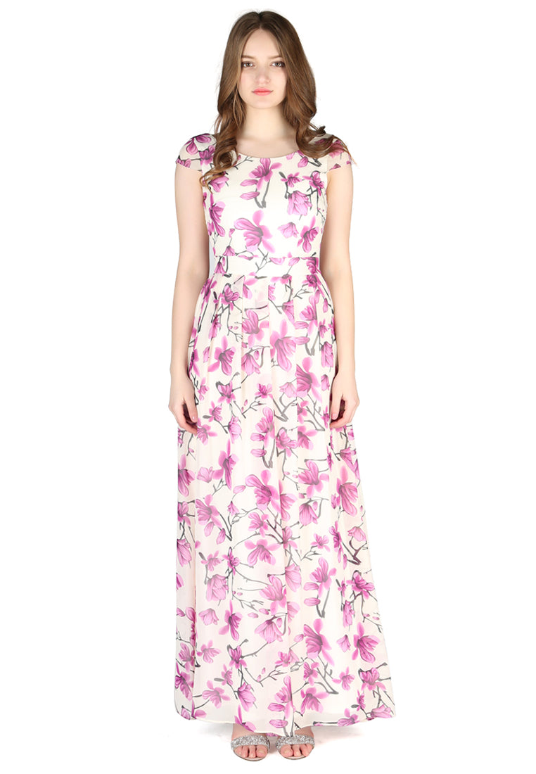Purple Floral Chiffon Maxi Dress - London Rag India