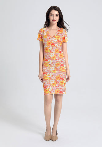 Orange Floral Bodycon Dress - London Rag India
