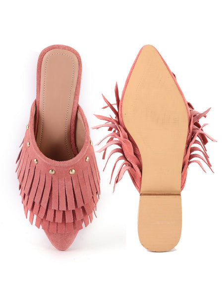 Orange Synthetic Pointed Toe Marissa Flat Mules - London Rag India
