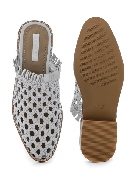 Womens White Woven Flat Mules - London Rag India